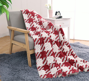 Comfort Red And White Plaid Printed Custom Flannel Blanket