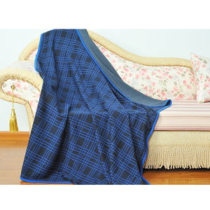 Dark Blue Plaid Jacquard Knitted Blanket