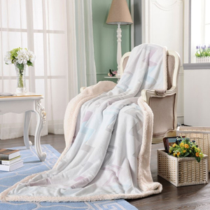 Cotton Printed Sherpa Warm Blanket