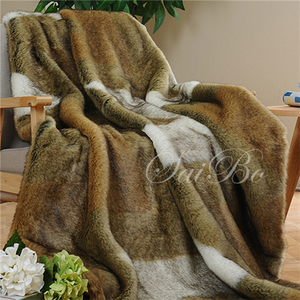 Home Comfort Luxury King Size Sublimated Fake Fur Blanket